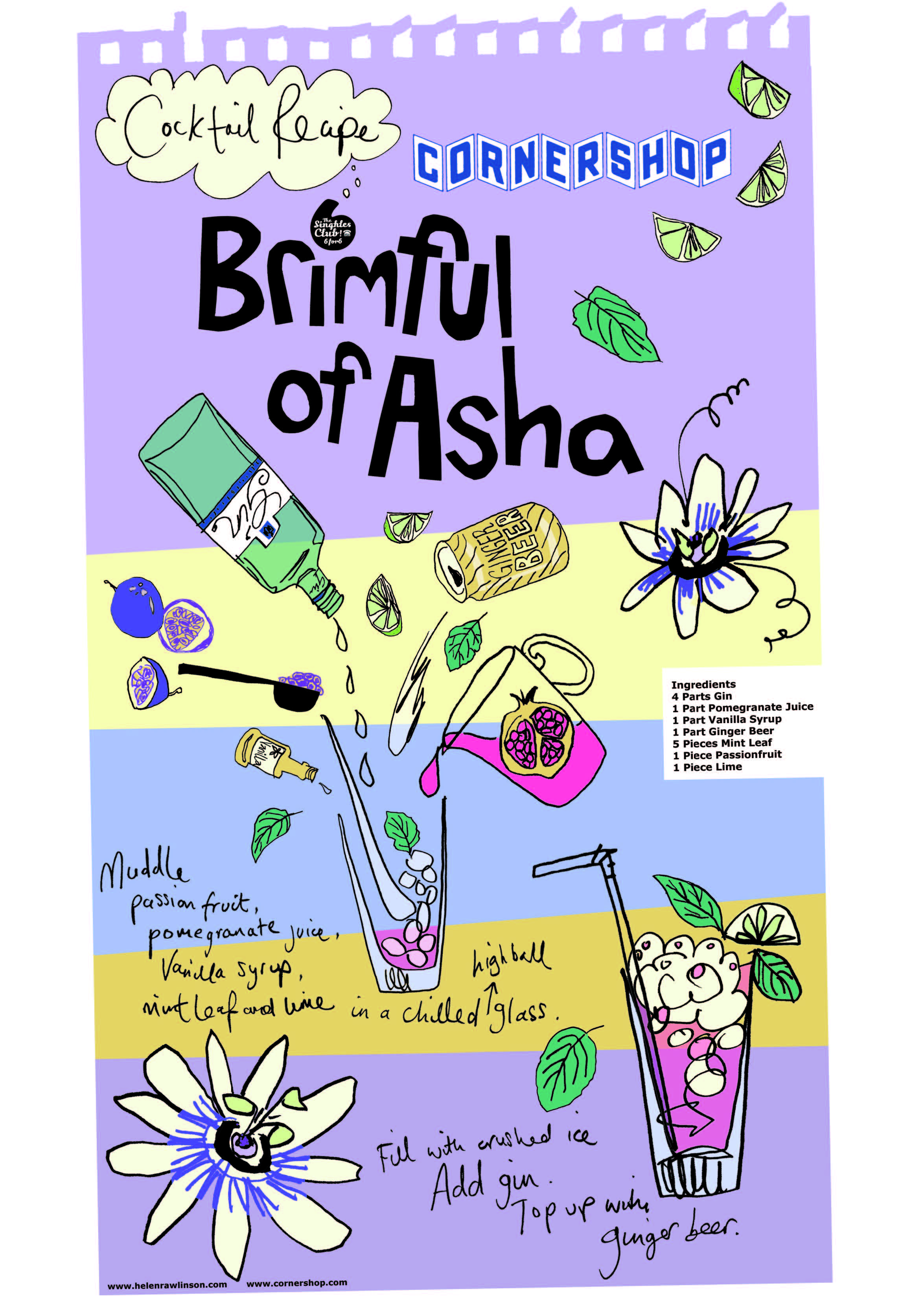 Cornershop Brimful of Asha Cocktail - designed by Helen Rawlinson